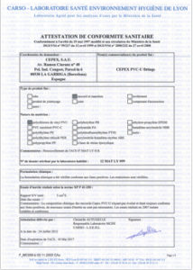 Zertifikate von PVC-U Zubehör