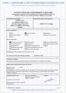 Certificados de accesorios PVC-U